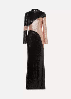 Rachel Zoe Genevieve Open-back Two-tone Sequined Crepe Gown - Black