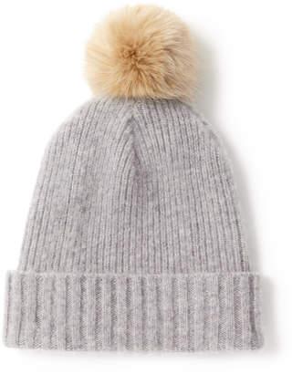 Jigsaw Wool Faux Fur Pom Beanie