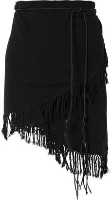 Caravana - Tuzik Belted Fringed Cotton-gauze Pareo - Black