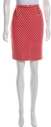 Chanel Patterned Tweed Skirt Red Patterned Tweed Skirt