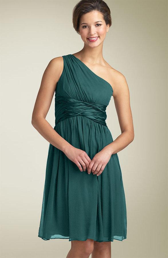 Maggy London One Shoulder Silk Dress
