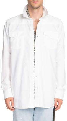 Off-White Off White Men's Firetape Shirt Jacket with Contrasting Graphic