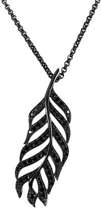 Black Diamond She Adorns & Sterling Silver Feather Pendant