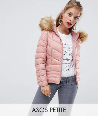 Vero Moda Petite Faux Fur Hooded Padded Jacket