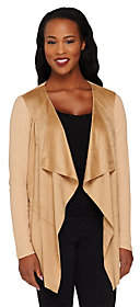 Lisa Rinna Collection Faux Suede Drape FrontCardigan
