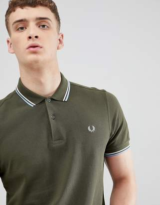 Fred Perry Twin Tipped Polo Shirt In Dark Green