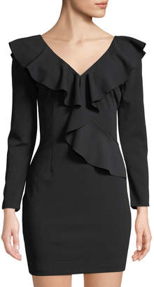 Alexia Admor Ruffle-Trimmed Long-Sleeve V-Neck Dress