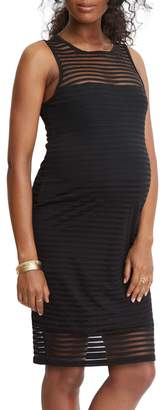 Stowaway Collection Shadow Stripe Maternity Sheath Dress