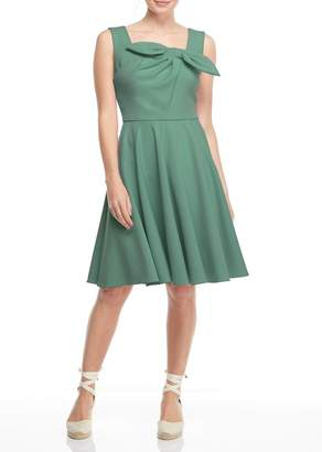Gal Meets Glam Zoe Pleated Bow A-Line Dress