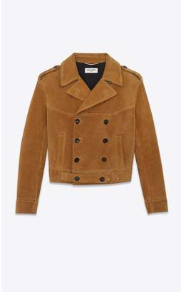 Saint Laurent Double-Breasted Suede Jacket