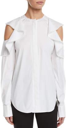 Oscar de la Renta Ruffled Cold-Shoulder Long-Sleeve Cotton Blouse