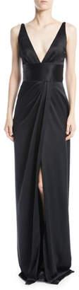Naeem Khan Deep-V Sleeveless Silk Column Evening Gown