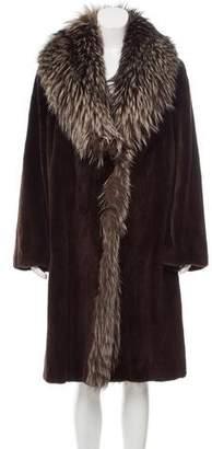 Neiman Marcus Sheared Mink Fox Fur-Trimmed Coat
