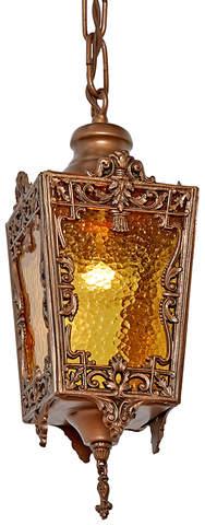 Rejuvenation Romantic Filigree Entry Pendant w/ Textured Amber Glass