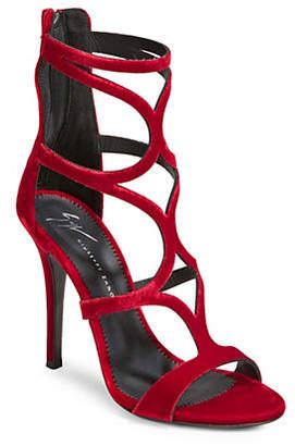 Giuseppe Zanotti Vernica Rosso Velvet Caged Sandals
