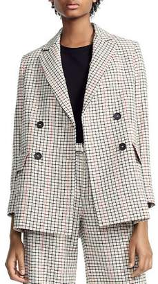 Maje Voldi Checked Double-Breasted Blazer