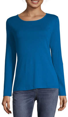 Liz Claiborne Womens Crew Neck Long Sleeve T-Shirt