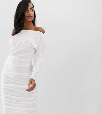 Scarlet Rocks jersey midi dress with long sleeves in white