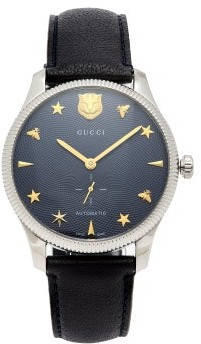 Gucci G Timeless Leather Automatic Movement Watch - Mens - Navy Silver