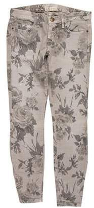 Current/Elliott Mid-Rise Floral Print Jeans