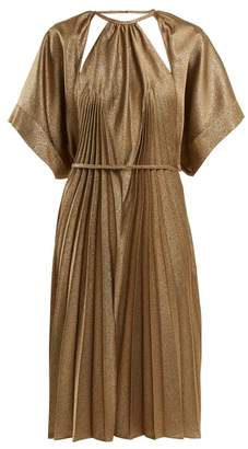 Maison Margiela Pleated Cut Out Dress - Womens - Bronze
