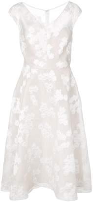 Lela Rose floral embroidered flared dress