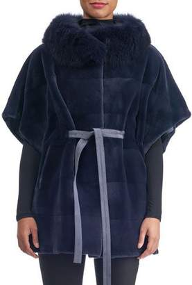 Gorski Sheared Mink Suede-Belt Horizontal Cape with Fox-Collar