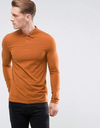 Asos DESIGN Long Sleeve Muscle Fit Polo