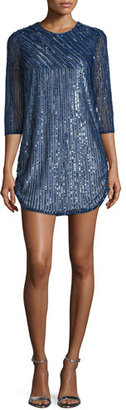 Parker Petra 3/4-Sleeve Embellished Dress, Blue $518 thestylecure.com