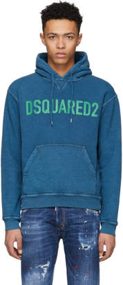 DSQUARED2 Blue Dyed Crack Logo Dan Hoodie