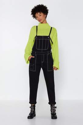 Nasty Gal Womens On The Straight And Narrow Stitch Dungarees - Black - 10