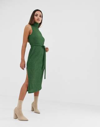 Asos Design DESIGN high neck marl rib midi dress with self belt