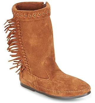Tan Coloured Suede Boots with Frings, Womens Low-Top Sneakers La Strada