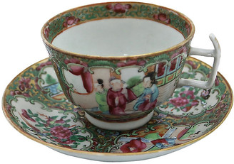 One Kings Lane Vintage Chinese Famille Rose Cup & Saucer - Rose Victoria