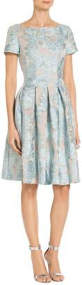St. John Organza Lame Floral Fil Coupe Dress