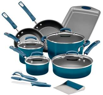 Rachael Ray Classic Brights Hard Enamel Nonstick 15-Piece Cookware Set plus GWP, Marine Blue