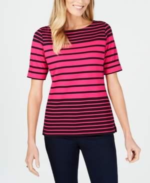 Karen Scott Striped Elbow-Sleeve Top, Created for Macy's