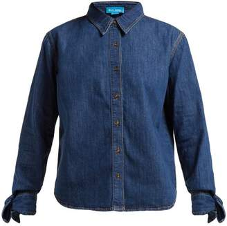 MiH Jeans Larsen Tie Sleeve Denim Shirt - Womens - Dark Blue