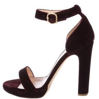 Rupert Sanderson Velvet Ankle Strap Sandals