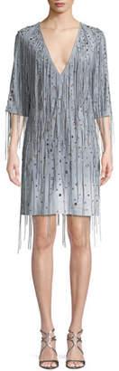 Bottega Veneta Deep V-Neck Fringe Metal Eyelets Dégradé Suede Dress