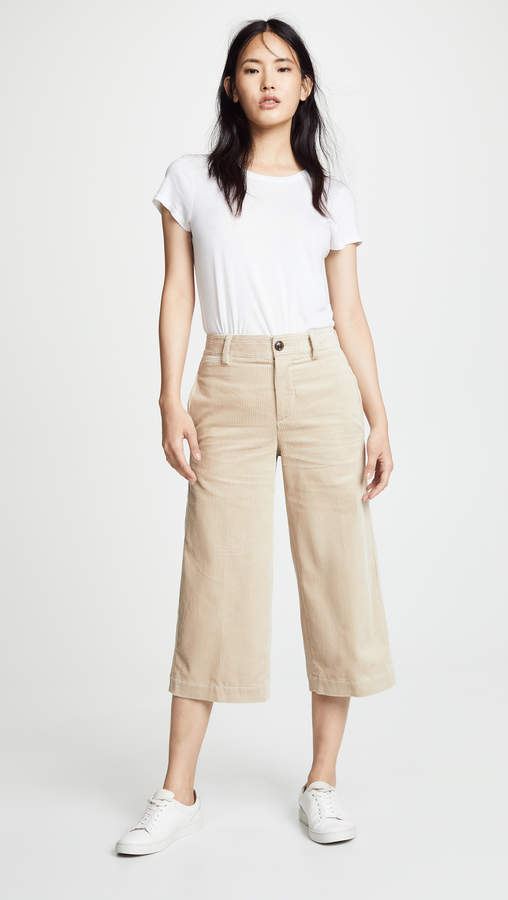 Corduroy Cropped Wide Pants
