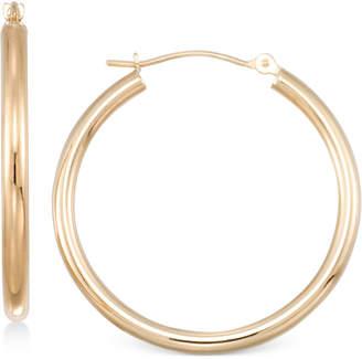 Macy's Polished Tube Hoop Earrings in 10k Gold, White Gold or Rose Gold
