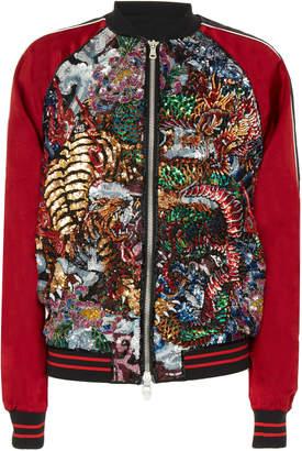 Balmain Embroidered Satin Bomber Jacket