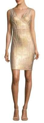 Herve Leger Sleeveless Foil Bodycon Dress