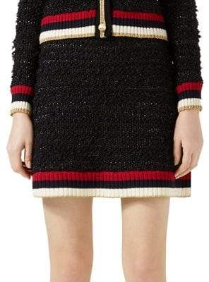 Gucci Contrast-Trimmed Mixed Yarn Mini Skirt