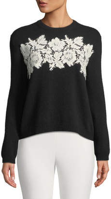 Valentino Long-Sleeve Crewneck Wool-Cashmere Sweater with Lace Inserts