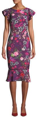 David Meister Floral Flutter-Sleeve Flounce Dress
