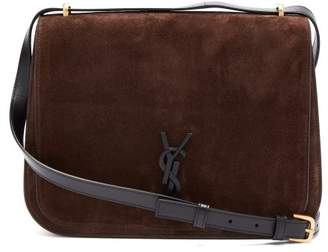 Saint Laurent Spontini Suede Satchel Cross Body Bag - Womens - Dark Brown