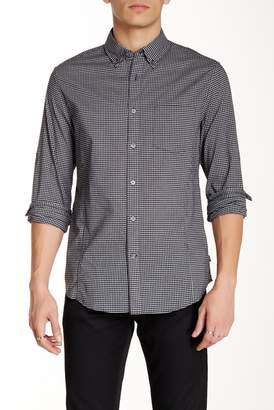 John Varvatos Gingham Long Sleeve Roll Up Trim Fit Shirt