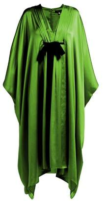 Andrew Gn V Neck Tie Waist Silk Gown - Womens - Green